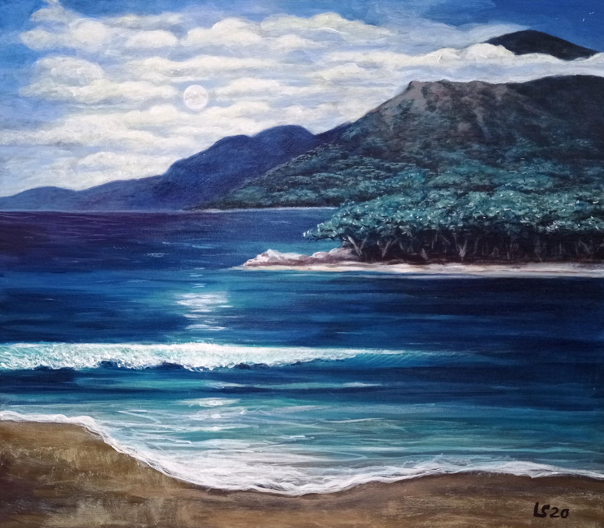 Il mare di notte di Luca Sanna-acrilici